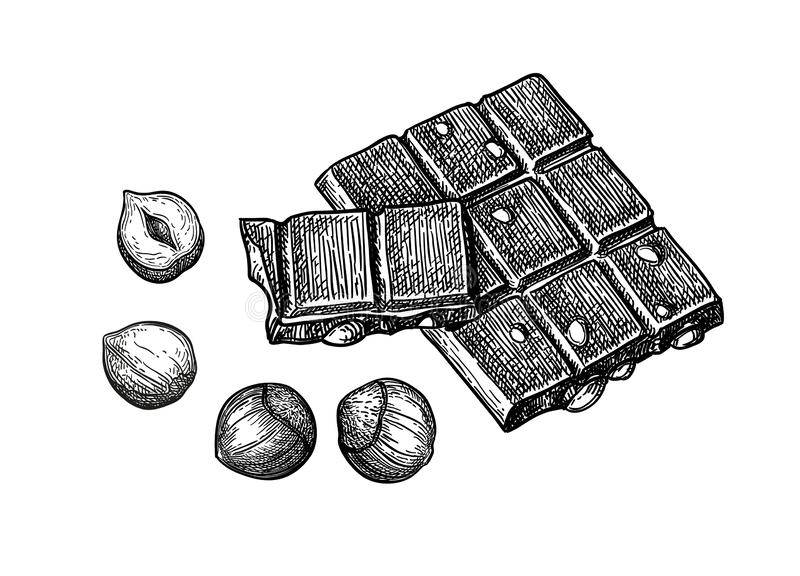 Bar van melkchocola met hazelnoten vector illustratie