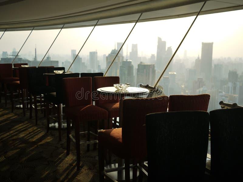 Bar with a view of shanghai skyline stock photos