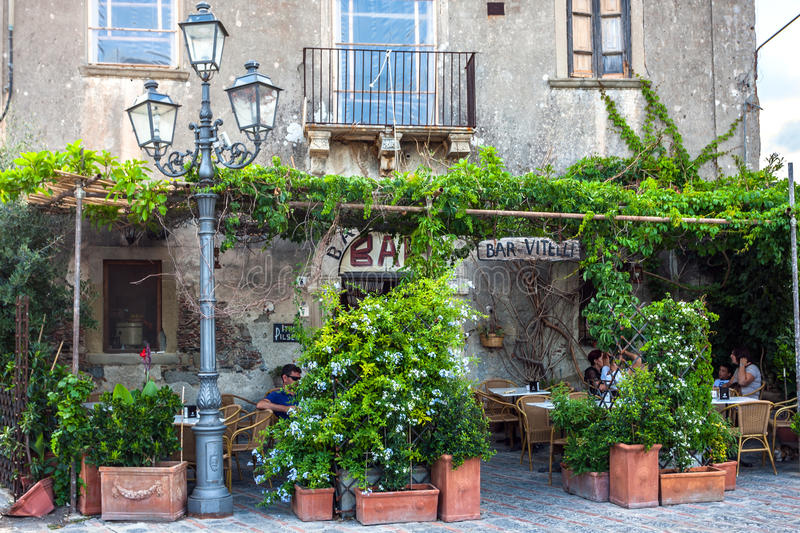 Bar Vitelli in Savoca. Forza d'Agro, Italy. Forza d'Agro, Italy - July 10, 2014: Bar Vitelli in Savoca was the location for the scenes set in Corleone of Francis stock images