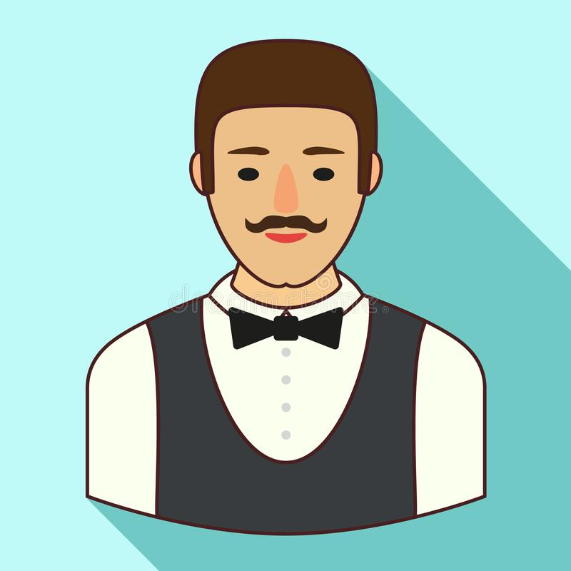 Bar waiter icon, flat style vector illustration