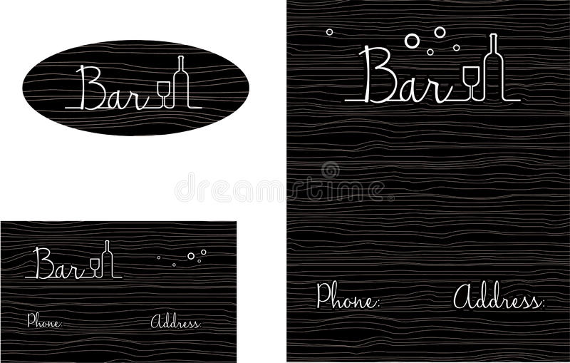 Bar Wooden looking Logo, Business Card. Bar Wooden looking with liquor bottles and glasses horizontal retro vector illustration