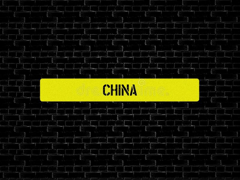 Bar in yellow. the word CHINA is displayed. The background is black with tiles. Yellow. the word CHINA is displayed. The background is black with tiles stock photos