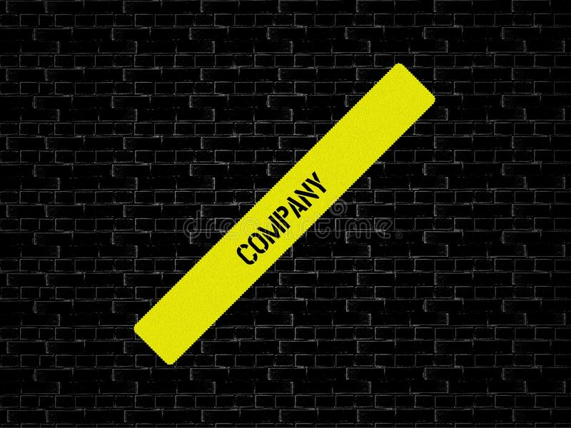 Bar in yellow. the word COMPANY is displayed. The background is black with tiles. Bar yellow. the word COMPANY is displayed. The background is black with tiles stock photo