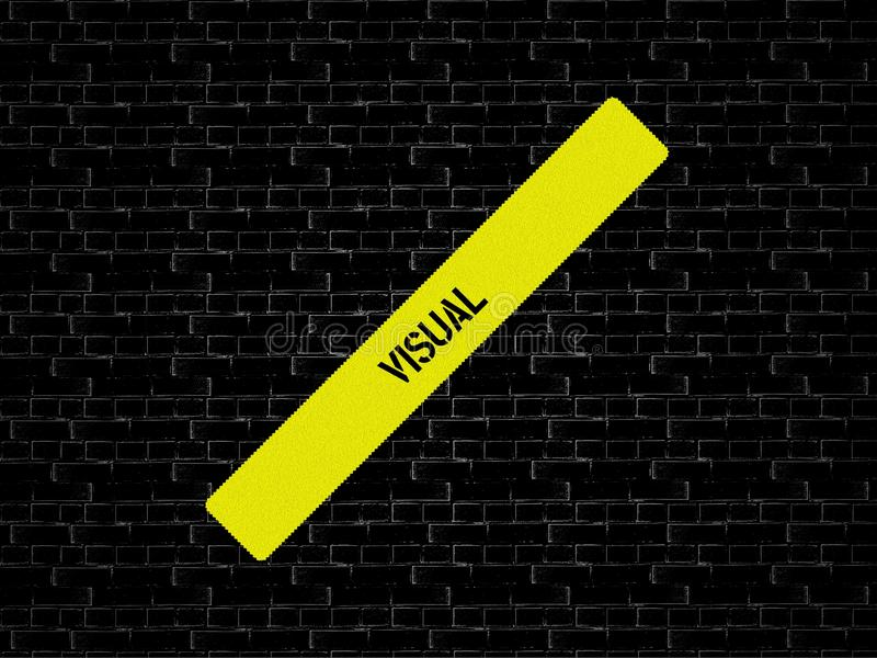 Bar in yellow. the word VISUAL is displayed. The background is black with tiles. Bar yellow. the word VISUAL is displayed. The background is black with tiles royalty free stock photo