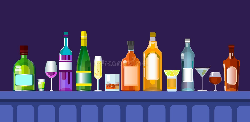 Bar z hler mit alkohol getr nk gl sern flaschen gesetzte for Alkohol dekoration