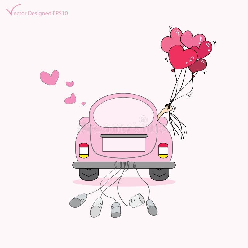 Bara att gifta sig på bilkörning till deras bröllopsresa royaltyfri illustrationer