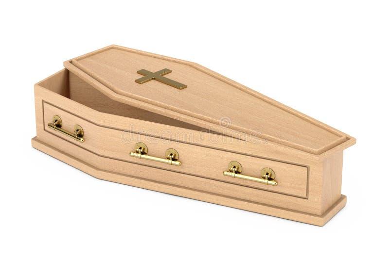 Bara di legno con l'incrocio e le maniglie dorati rappresentazione 3d illustrazione di stock