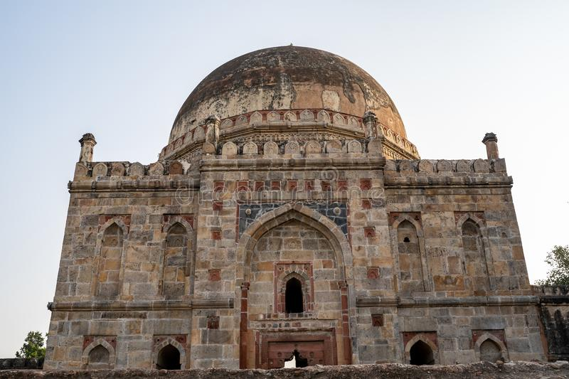 Bara Gumbad, a medieval monument located in Lodhi Gardens in Delhi, India.  royalty free stock image