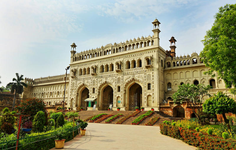 Bara Imambara or Asafi Imambara, Lucknow, India,. Bara means huge or big, and an imambara is a shrine for Muslim community built by Shia Muslims for the purpose stock photography