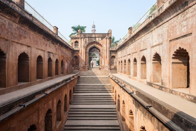 Bara Imambara, Lucknow. LUCKNOW, INDIA - NOVEMBER 15, 2015: Shahi Hamam Bouli royal bath at Bara Imambara complex in Lucknow, Uttar Pradesh in India stock image
