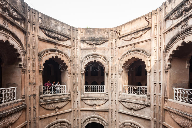 Bara Imambara, Lucknow. LUCKNOW, INDIA - NOVEMBER 15, 2015: Shahi Hamam Bouli royal bath at Bara Imambara complex in Lucknow, Uttar Pradesh in India royalty free stock images