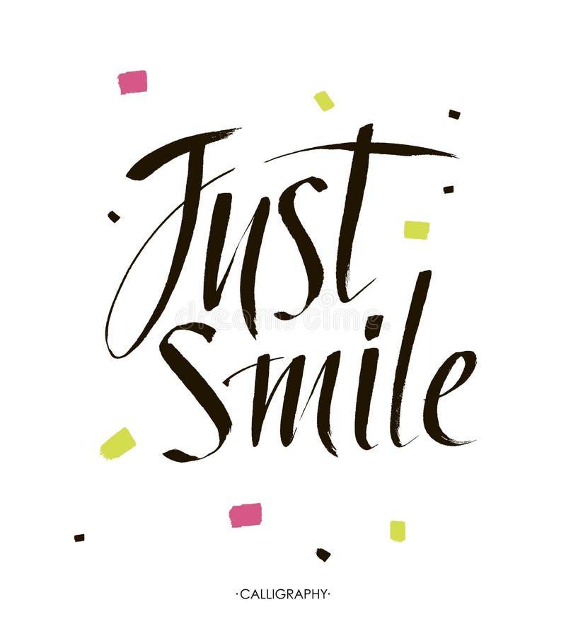 bara leende Räcka den utdragna vektorn det calligraphic tecknet inspirerande citationsteckenkonst Vektorbokstäverillustration för royaltyfri illustrationer