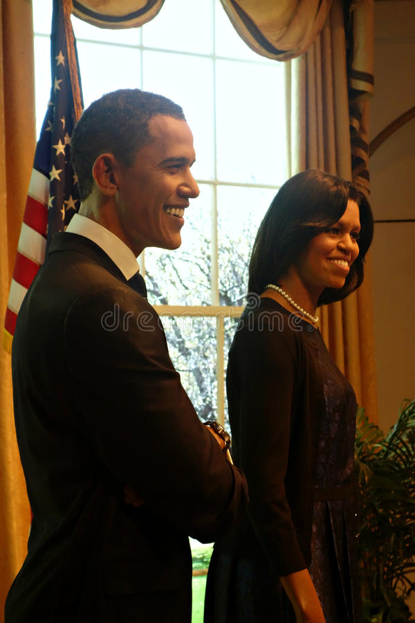 Barack et Michelle Obama Wax Figures photo stock