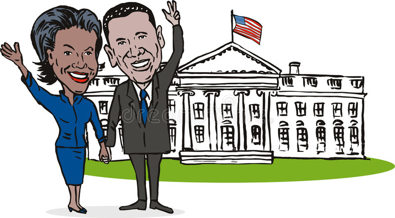 Barack and Michelle white house. Illustration showing the first couple of USA, Barack and Michelle Obama