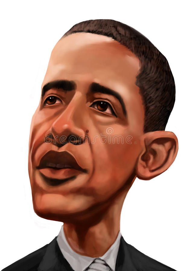 Barack obama. USA president barack obama caricature made in digital media