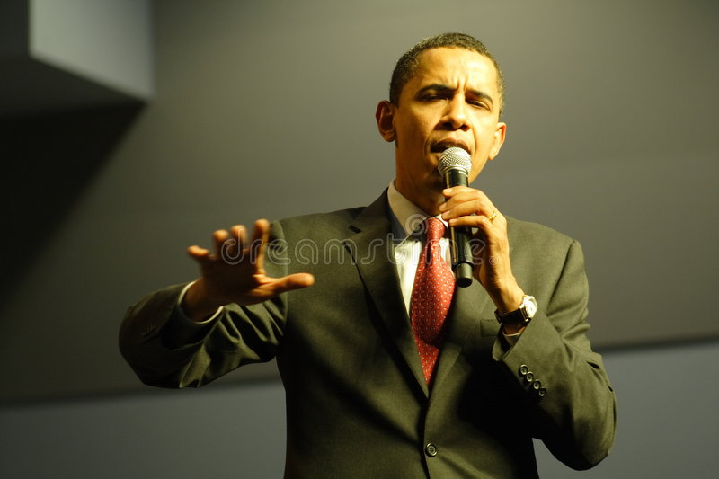 Barack Obama. Speaking at a campaign rally stock image