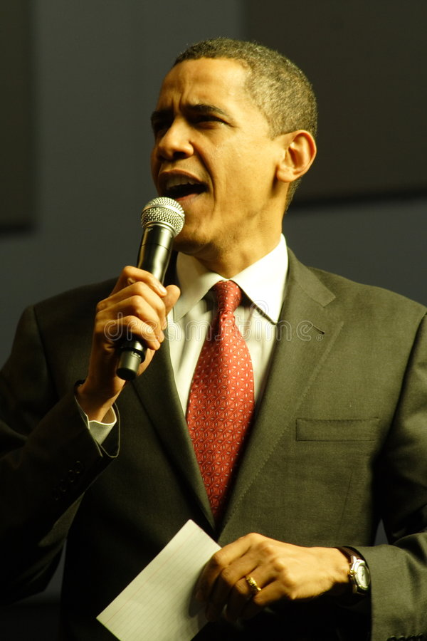 Barack Obama. Speaking at a campaign rally royalty free stock photo