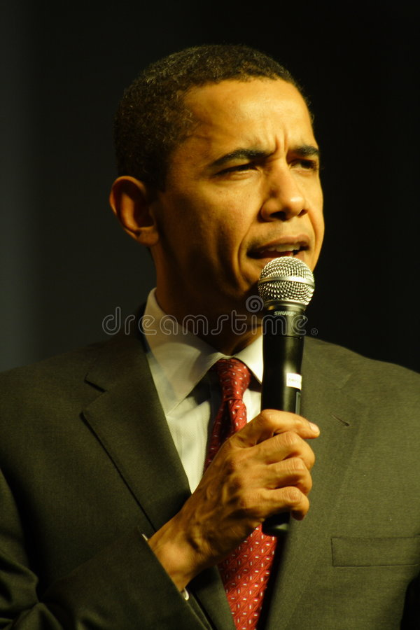 Barack Obama. Speaking at a campaign rally royalty free stock photos