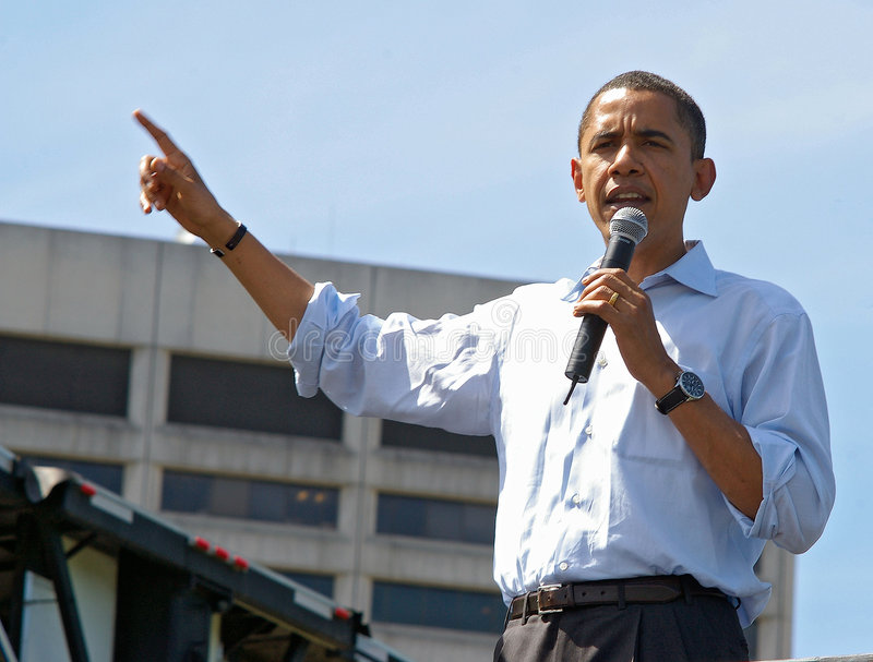 Barack Obama. At a large rally in Portland, Oregon. May 2008 stock photos