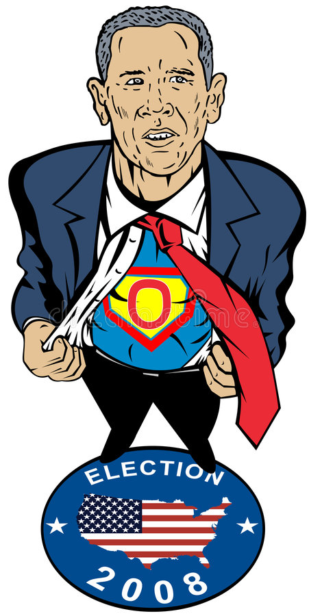 Barack Obama as superhero. Vector art of Barack Obama