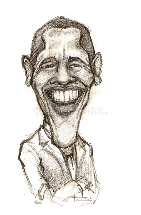 Barack Obama caricature. A pencil-drawn caricature of the President of USA - Barack Obama
