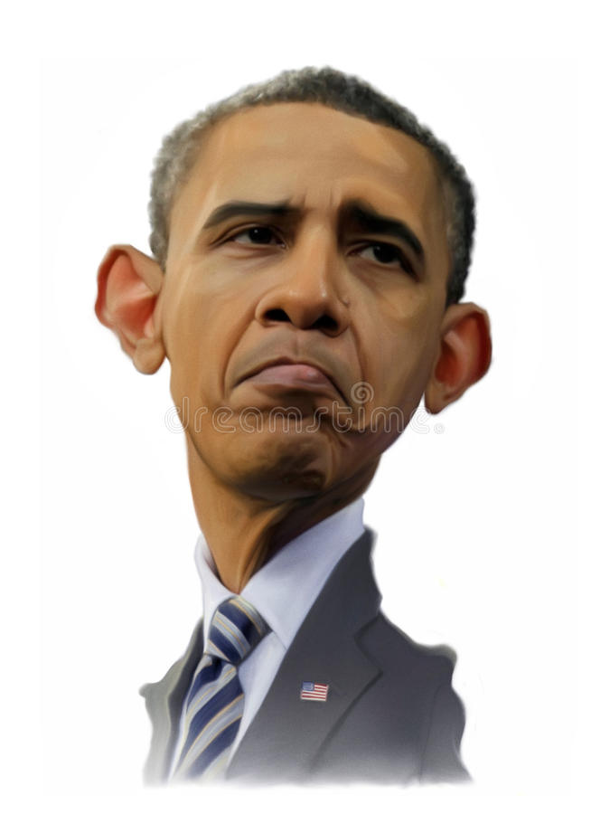 Barack Obama Caricature. For editorial use