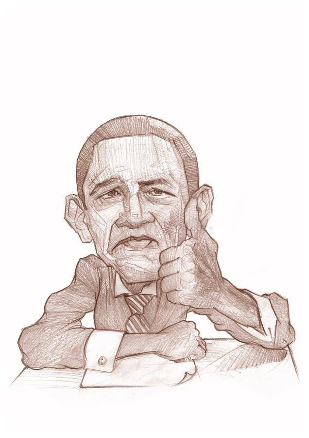 Barack Obama Caricature Sketch stock image