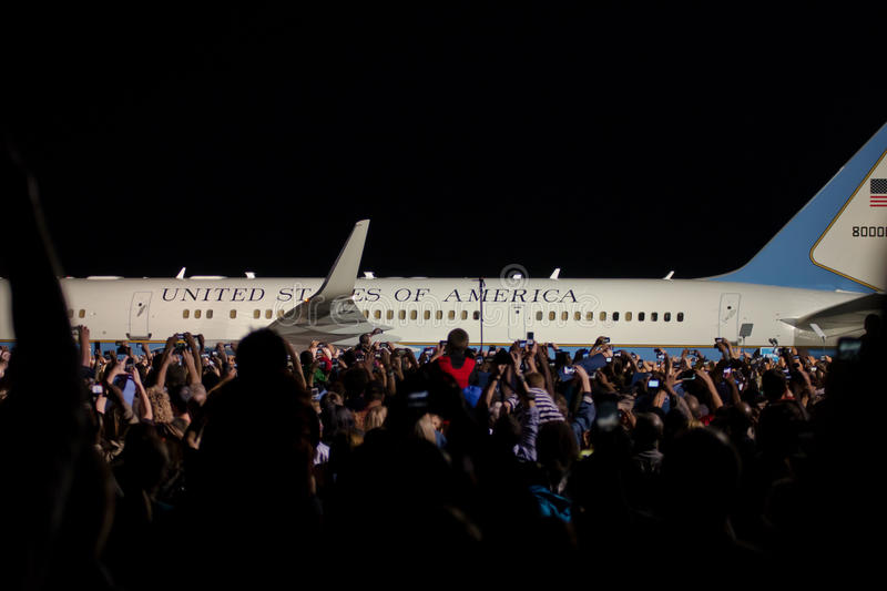 Airforce one at night. Air-force one at Cleveland Burke Lakefront Airport stock photo