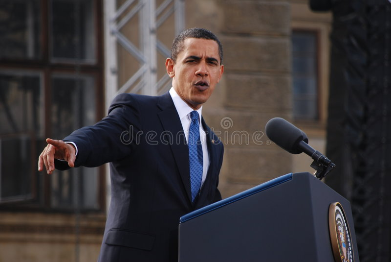 Barack Obama en Praga foto de archivo