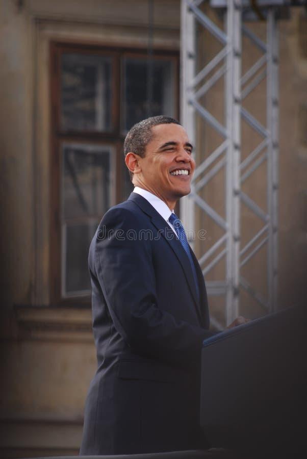 Barack Obama en Praga fotografía de archivo