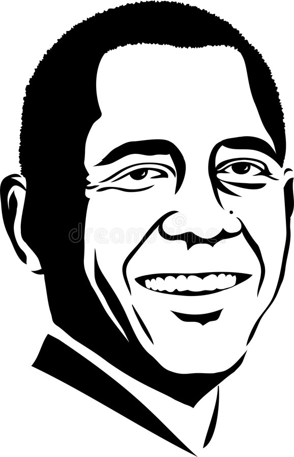 Barack Obama/eps. Black and white illustration of President of the United States of America, Barack Obama