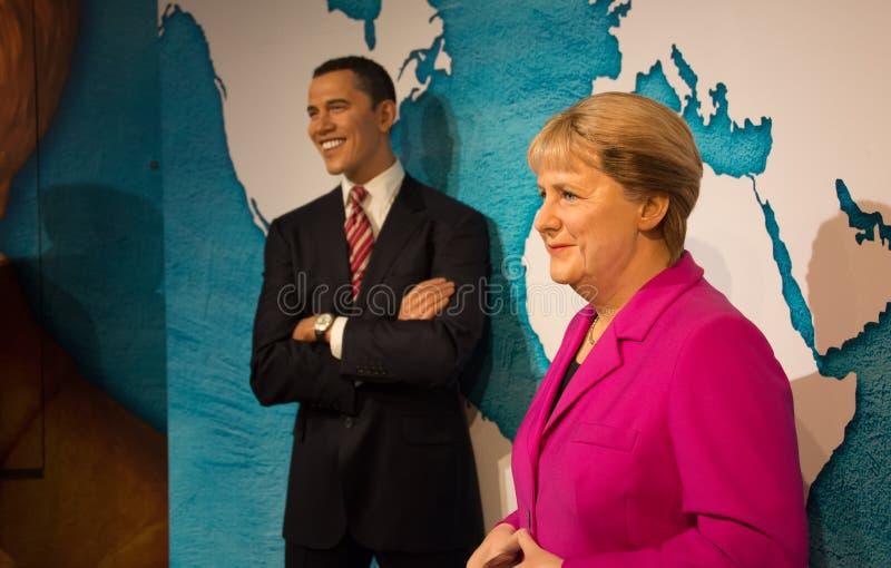 Barack Obama i Angela Merkel w muzeum Madame Tussauds fotografia stock