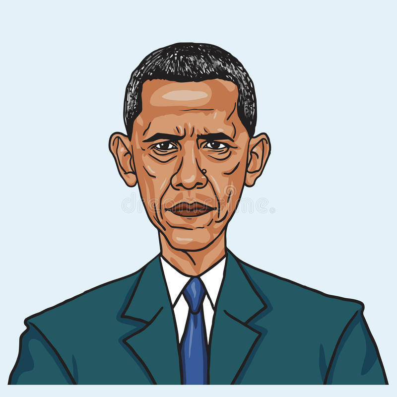 Barack Obama Illustrazione di caricatura di vettore 28 giugno 2017