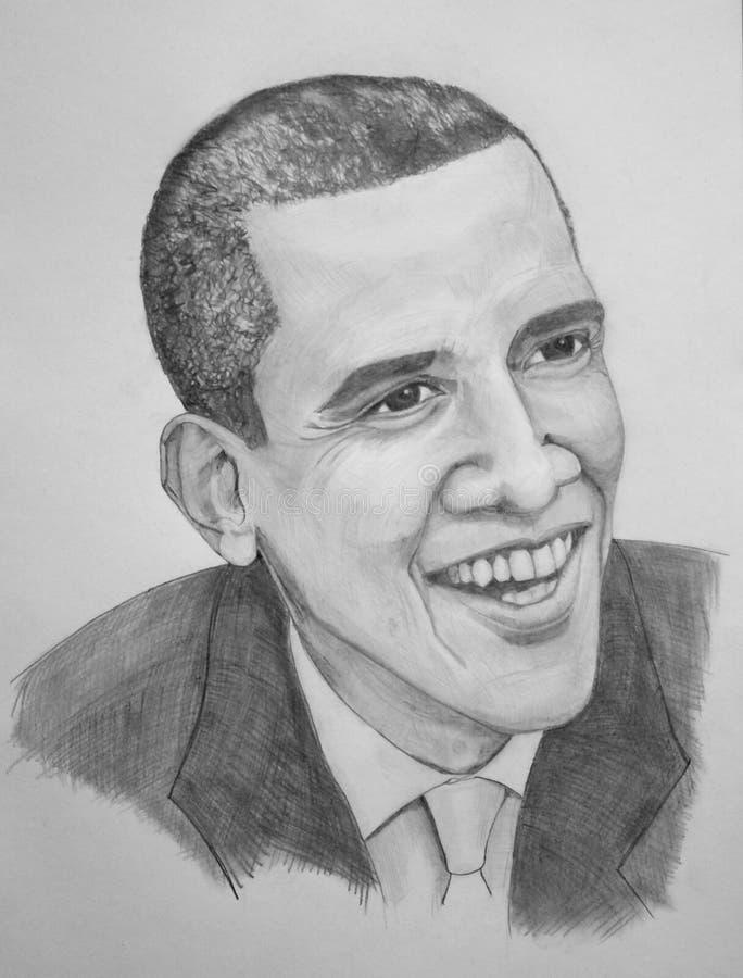 Barack Obama portrait stock illustration