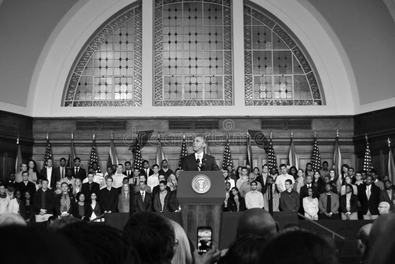 Barack Obama przy UCT szerokim strzałem zdjęcia stock