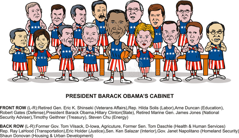 Barack Obama's new cabinet. Illustration of American President Barack Obama's new cabinet line-up represented as a basketball team