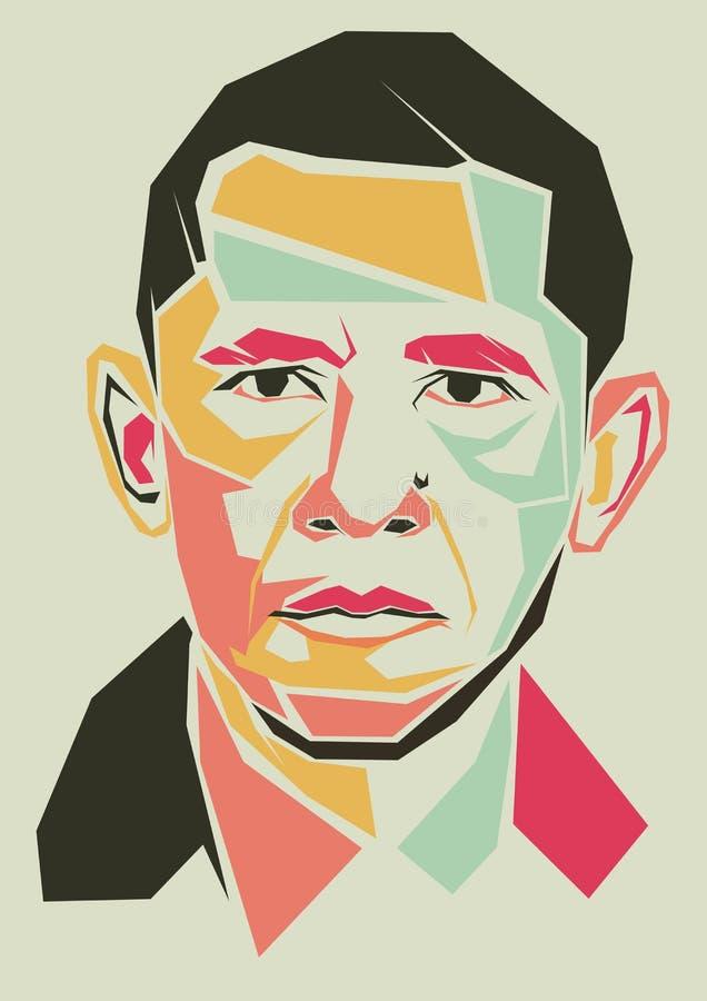 Barack Obama simple line and simple colour vector portrait stock illustration