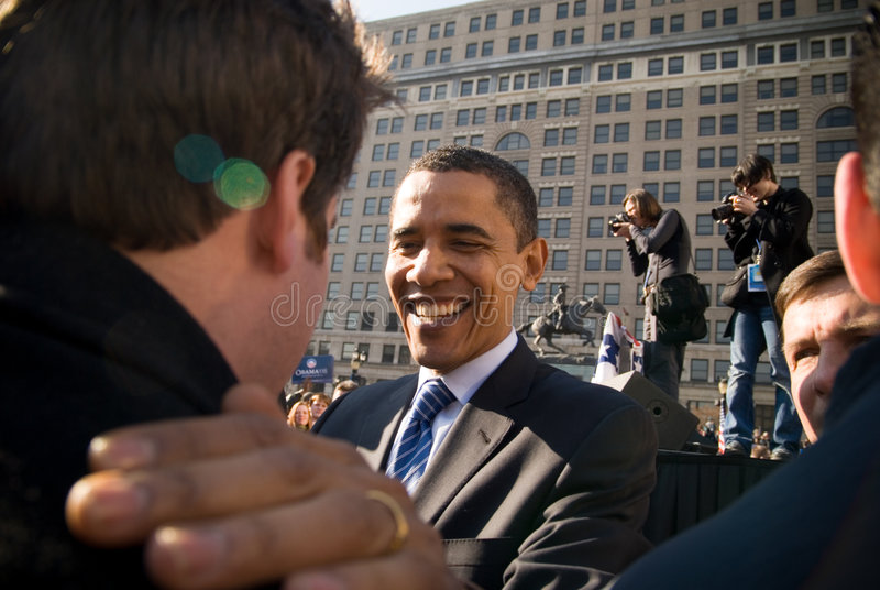 Barack Obama with Supporter royalty free stock image
