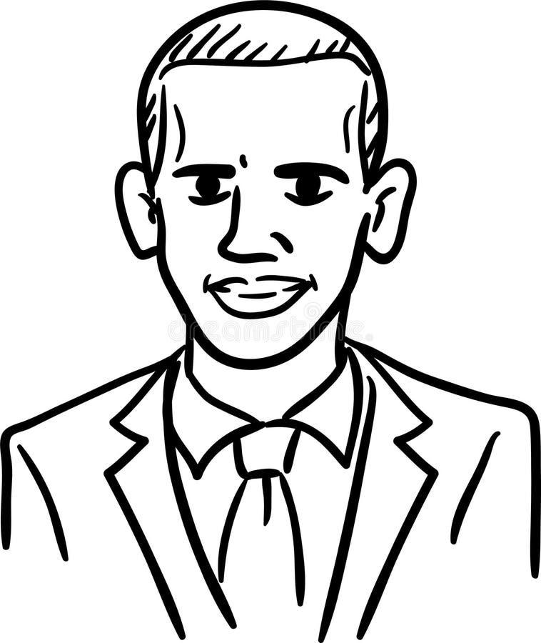 Barack Obama tecknad filmkarikatyr, svartvit klottervektor Enkel linje teckning av presidenten av Förenta staterna royaltyfri illustrationer