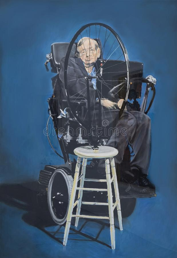 Stephen Hawking. British physicist Stephen Hawking appears to be in a surrealistic tangle with a Marcel Duchamp ready-made device. This pastel-on-sandpaper image stock photos