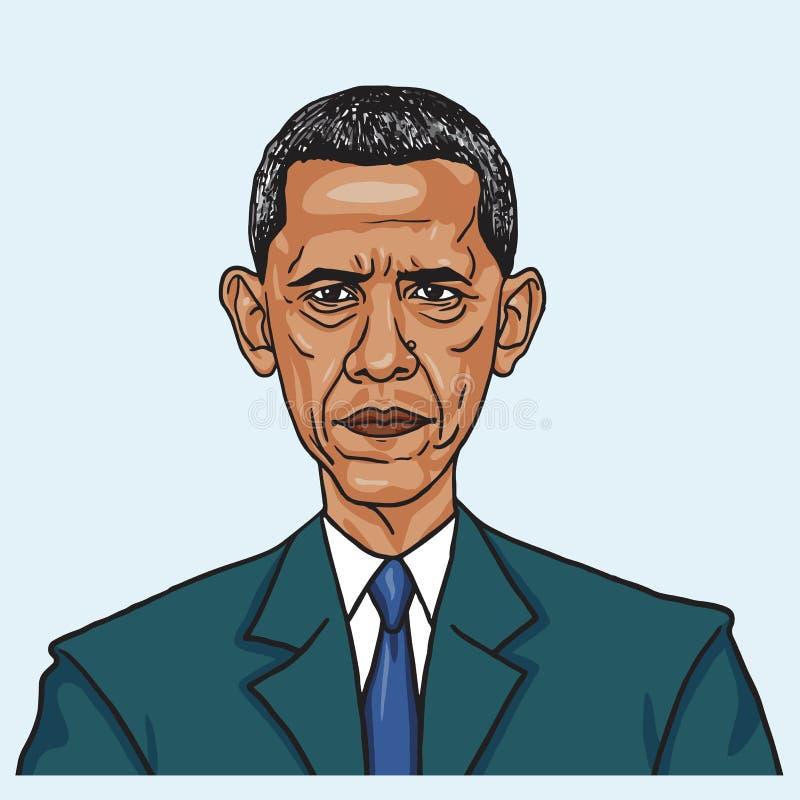 Barack Obama Vektorkarikatyrillustration Juni 28, 2017 stock illustrationer