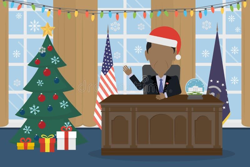 Barack Obama w Santa kapeluszach royalty ilustracja