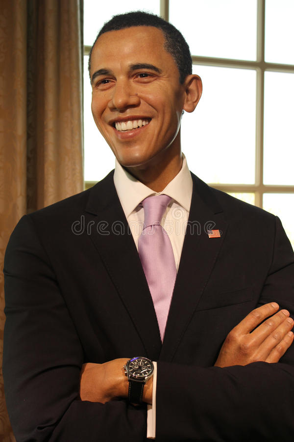 Barack Obama (wax figure). Barack Hussein Obama (President of the United States) at Madame Tussauds Museum in Vienna. Photo taken on February 12th 2013 royalty free stock image
