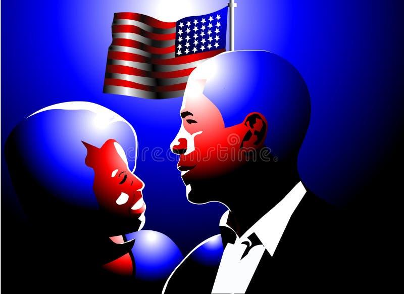 Barack und Michelle obama lizenzfreie abbildung