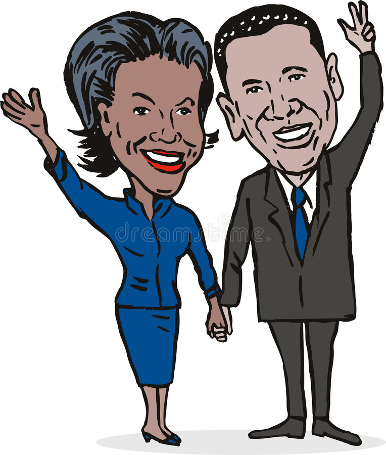 Barack y Micaela Obama stock de ilustración