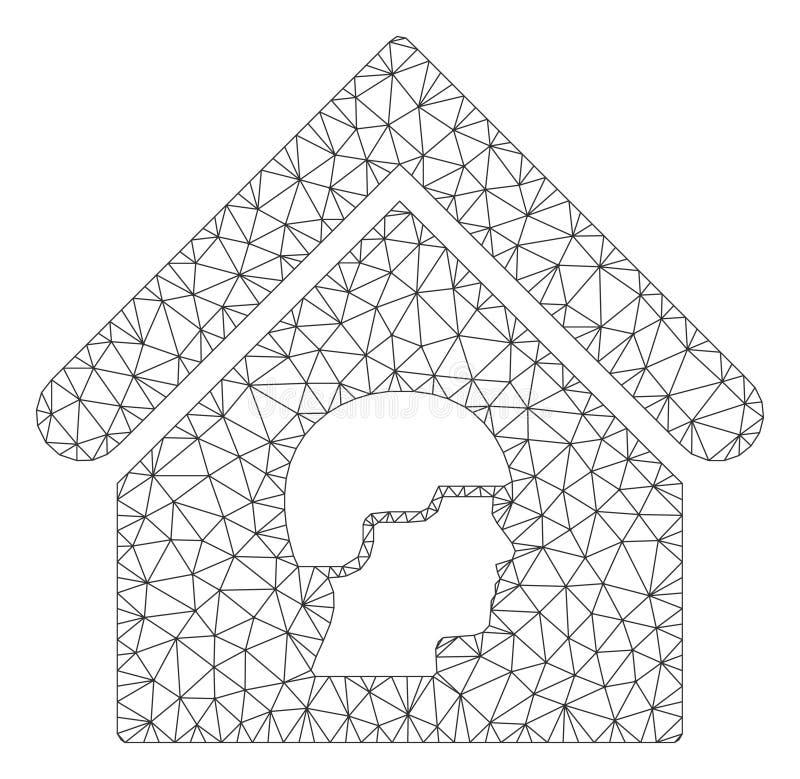 Barackbyggnadsvektor Mesh Network Model royaltyfri illustrationer