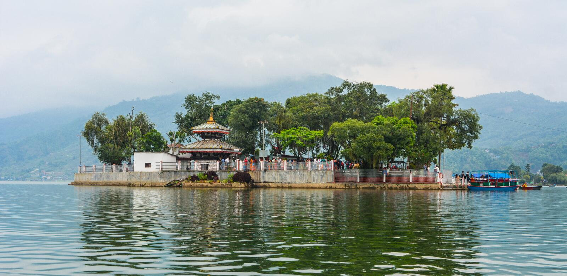 Barahi Temple in the Middle of Fewa lake, Pokhra Nepal stock image