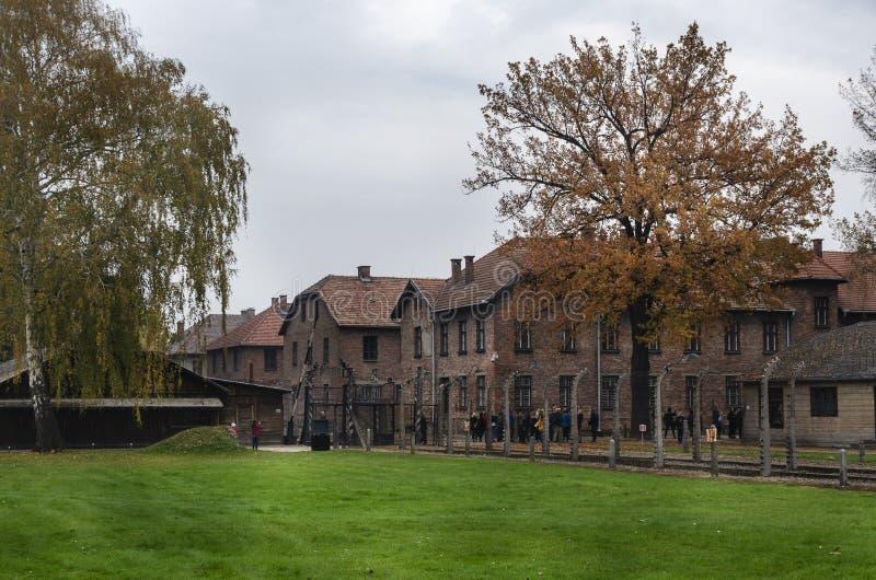 Barakken in auschwitz-Birkenau I, Duits Concentratiekamp royalty-vrije stock foto's