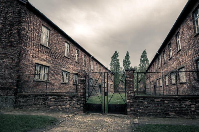 Barakken van gevangenis Auschwitz II, Birkenau, Polen stock foto