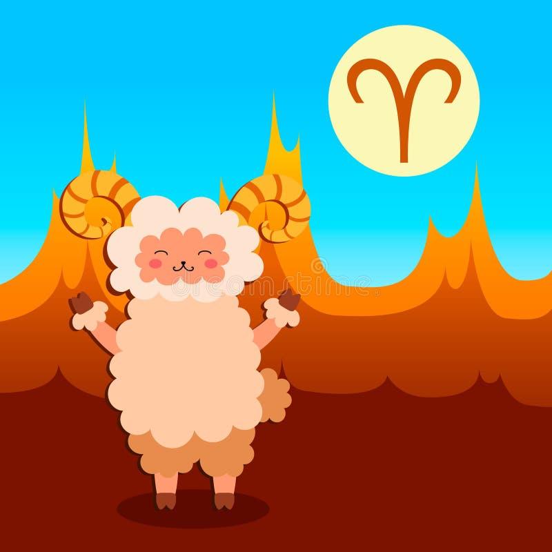 baran ilustracji znak zodiak wektora ilustracji